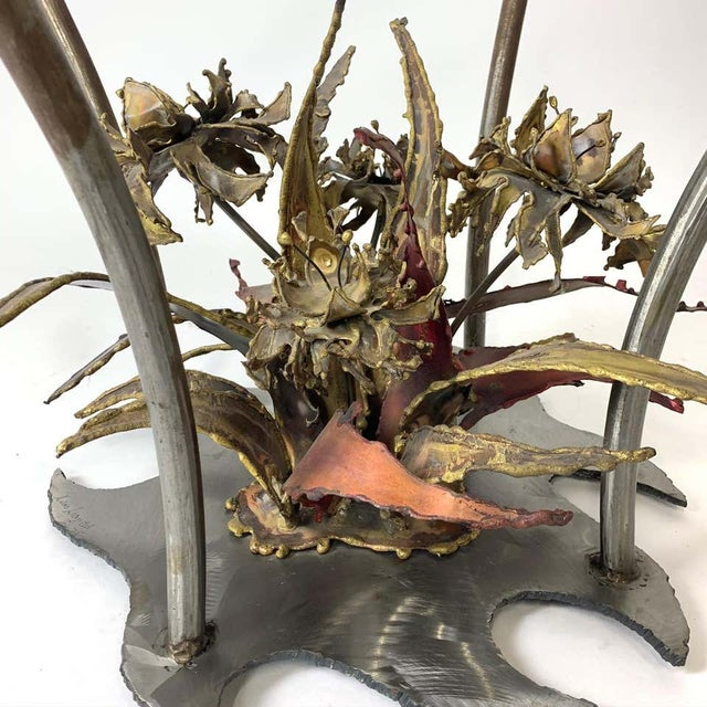 Bronze Silas Seandal Studio Brutalist Bloom Welded Bronze, Steel, & Copper Coffee Table For Sale - Image 8 of 13