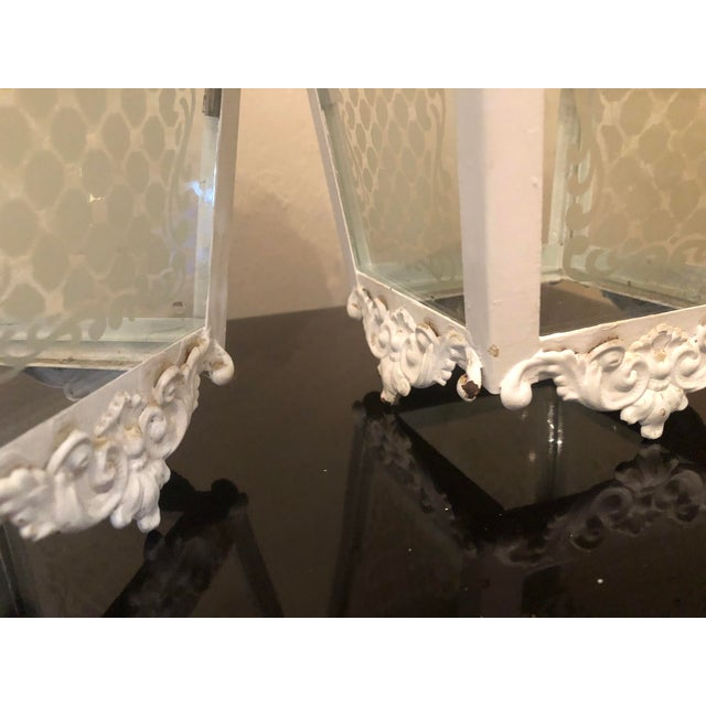Vintage White Metal Outdoor Lights With Etched Glass Panels - a Pair For Sale In New York - Image 6 of 10