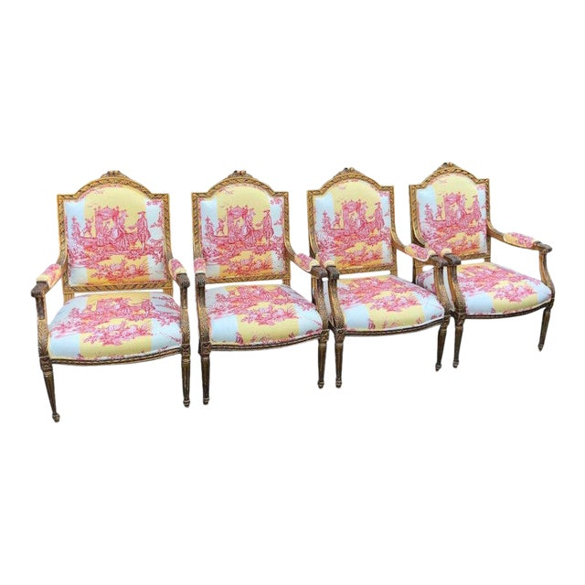 Antique Louis XVI Style Bergere Arm Chairs W Brunschwig & Fils Toile - Set of 4 For Sale