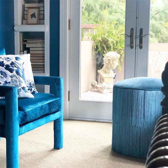 Blue Mid-Century Blue Velvet Open Arm Club Chairs - a Pair in the Style of Milo Baughman For Sale - Image 8 of 9