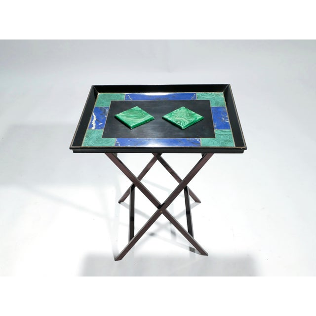 1970s Christian Dior Faux Malachite Folding Tray Table, 1970s For Sale - Image 5 of 11