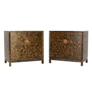 Pair of Asian Style Art Decorated Double-Door Bachelor's Chest Dressers For Sale