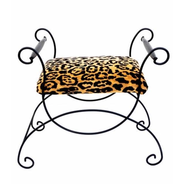 Black Mid-Century Hollywood Regency Leopard Velvet Empire Style Vanity Bench For Sale - Image 8 of 10