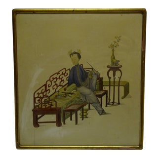 """Vintage """"Relaxing"""" Framed Chinese Print For Sale"""
