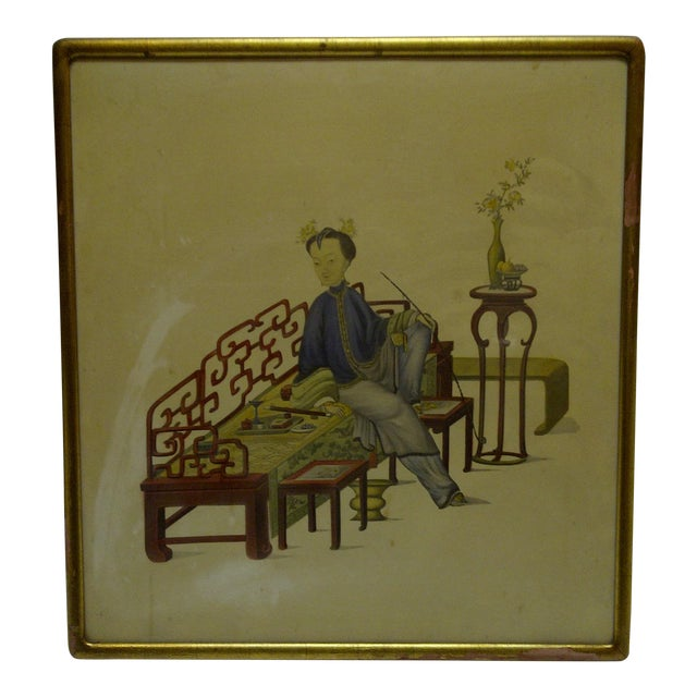 "Vintage ""Relaxing"" Framed Chinese Print For Sale"