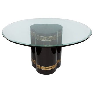 Bernhard Rohne Acid Etched Brass Black Lacquered Pedestal Dining Table