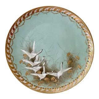 1915/1921 Noritake Nippon Snow Geese Moriage Porcelain Platter For Sale