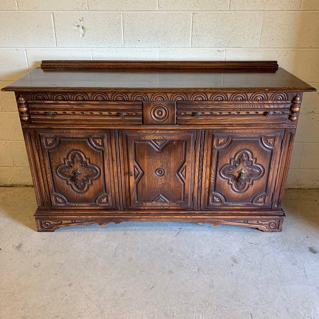 Vintage Dark Oak Carved Wood Server Hunt Board For Sale - Image 13 of 13