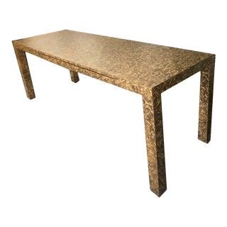 1970s Baughman Style Burl Effect Parsons Desk For Sale