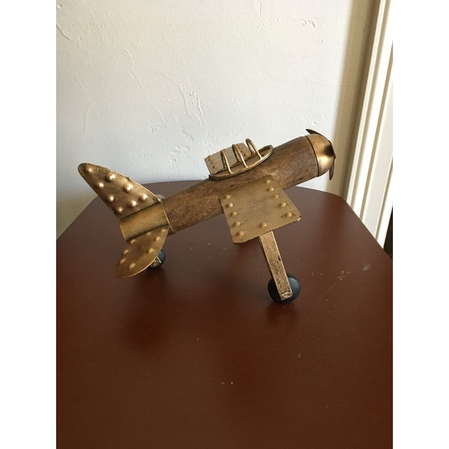 Early 21st Century Americana Wood and Metal Airplane Figurine For Sale - Image 5 of 8