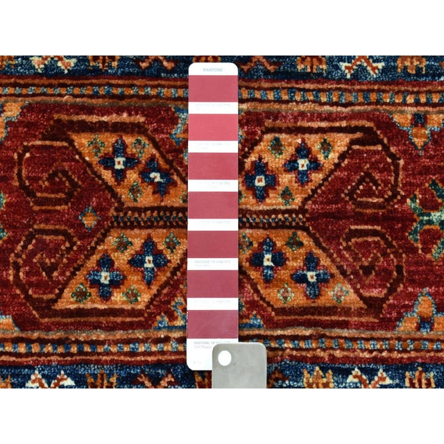 Islamic Khorjin Design Colorful Kazak Pure Wool Hand Knotted Rug For Sale - Image 3 of 6