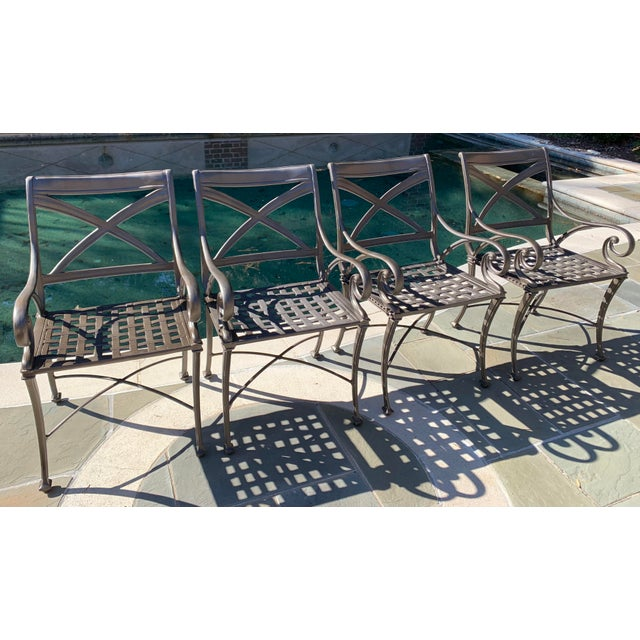 4 Woodard Landgrave Cast Classics Landgrave Patio Porch Outdoor Dining Chairs. Chairs have been touched up/spray painted...