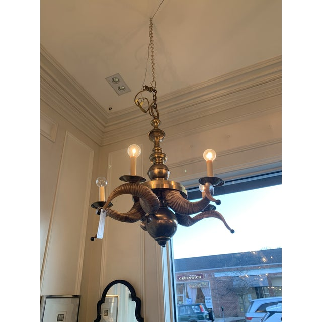 Chapman Manufacturing Company Chapman Brass and Rams Horn Chandelier For Sale - Image 4 of 5