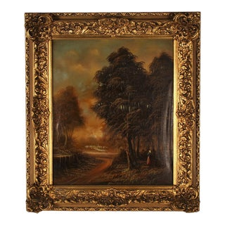19th Century Country Landscape With a Lady Framed Oil Painting Signed by Pietre Andry For Sale