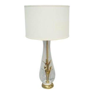 Brass and Glass Table Lamp For Sale