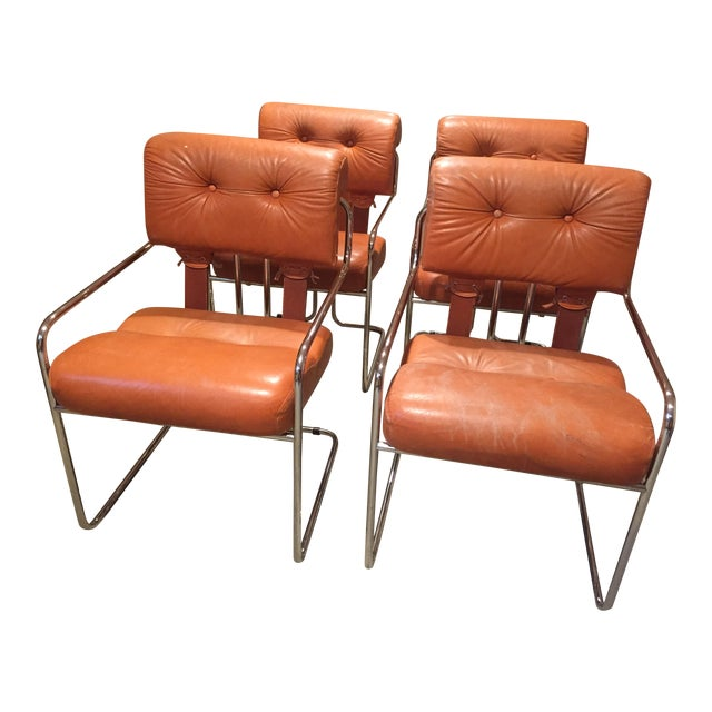 Burnt Orange Tucroma Leather and Chrome Dining Chairs in Mid Century ...