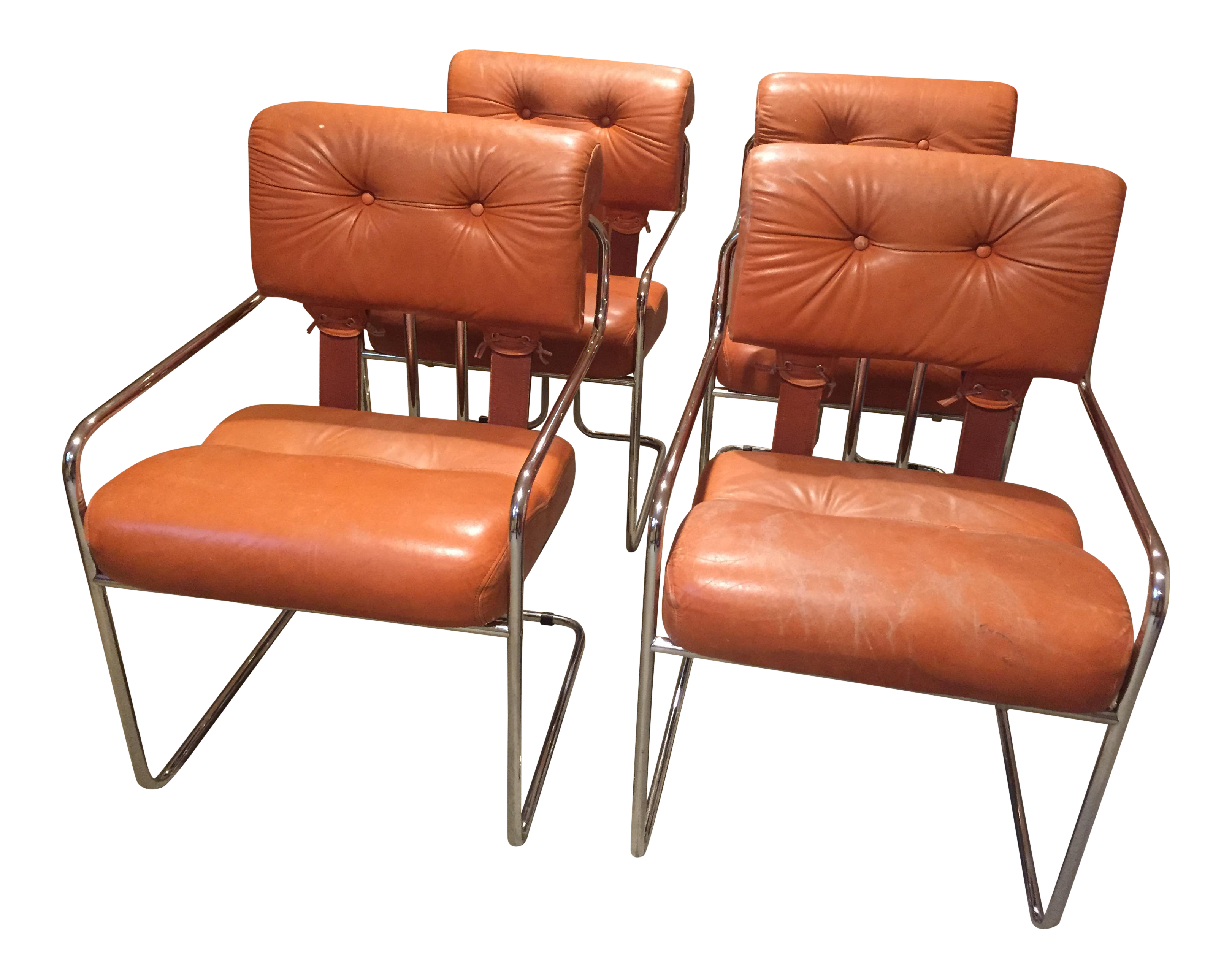 Burnt Orange Tucroma Leather And Chrome Dining Chairs In Mid Century  Italian Design   Set Of 4