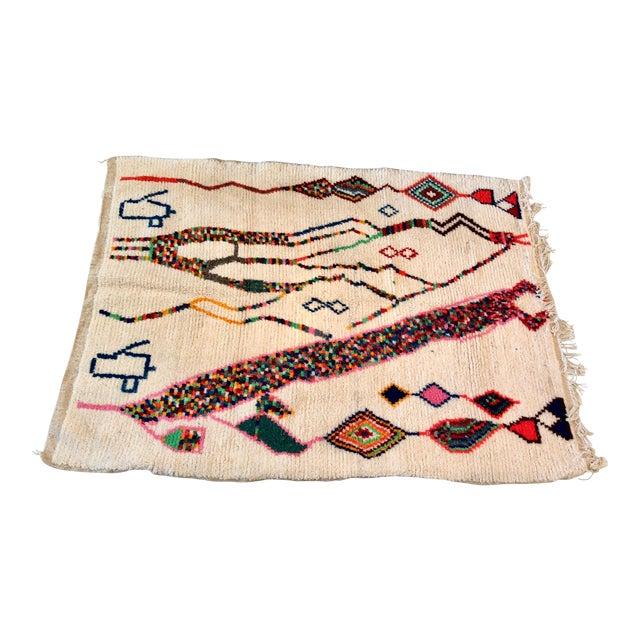 Vintage Handmade Moroccan Wool Rug - 5′1″ × 7′3″ For Sale