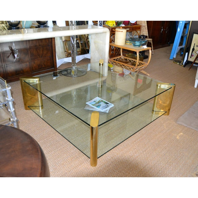 Karl Springer Mid-Century Modern Brass & 2-Tier Glass Coffee Table, Signed For Sale In Miami - Image 6 of 13
