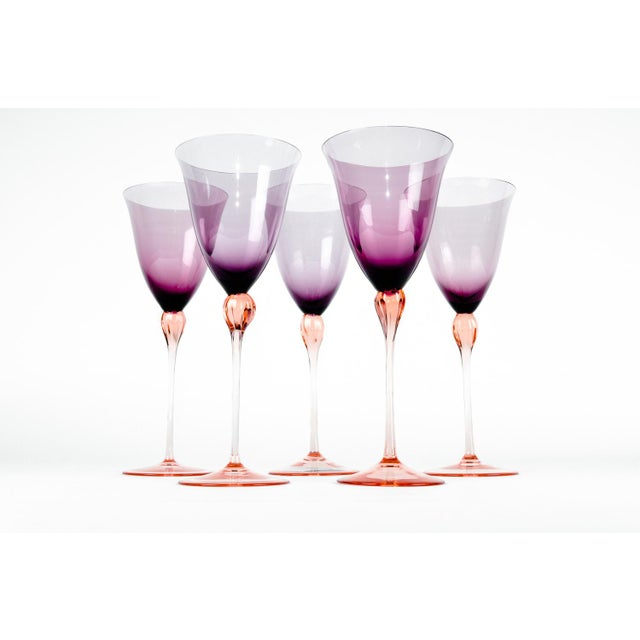 Vintage set of five Murano crystal amethyst color with ice pink stem wine glasses. Each glass is in excellent condition....