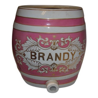 Old Ornate English Pub Brandy Porcelain Dispenser