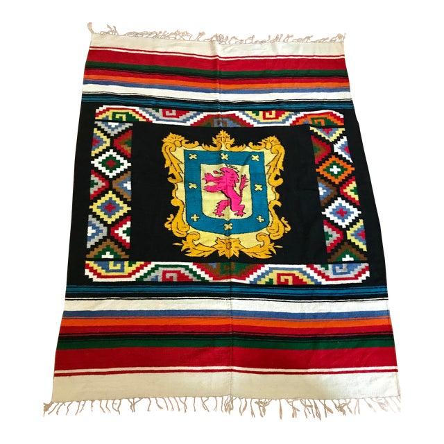 20th Century Folk Art Colorful Striped Geometric Wool Throw Blanket For Sale