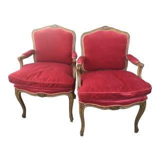 1990s Vintage French Provincial Red Velvet Chairs - A Pair For Sale