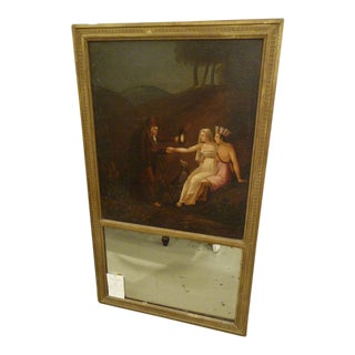 19th Century Trumeau Mirror with Oil Painting