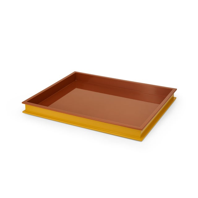 Contemporary Large Rectangular Tray in Mayan Gold / Saddle Tan - Jeffrey Bilhuber for The Lacquer Company For Sale - Image 3 of 3