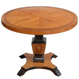 Swedish Art Deco Round Intarsia Pedestal Table For Sale