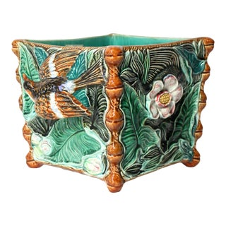 Large Palissy Majolica Square Jardinière, Paris School, 1800s For Sale