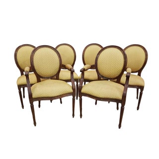 Set of Six Vintage Gold French Louis XVI Style Medallion Back Dining Chairs Two Armchairs and Four Side Chairs For Sale