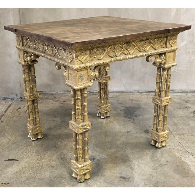 Gold leaf based side table with wood top and bamboo leg design. From the Pacific Design Center Furniture Showroom. Two...