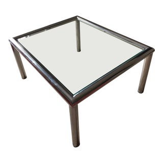 Contemporary Crystal Top Steel Coffee Table For Sale