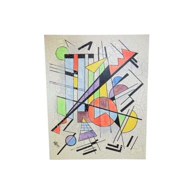 Large abstract painting in the style of Wassily Kandinsky by Lee Reynolds (Vanguard Studios). Crackled paint on canvas....