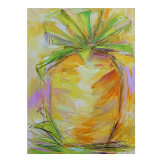 """Large Abstract Painting """"Pineapple Power"""" by Trixie Pitts"""
