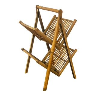 Vintage Bamboo Magazine Rack in Natural Tortoise Style Finish For Sale