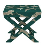 Image of Scalamandre X Bench in Polo Green Cheetah For Sale