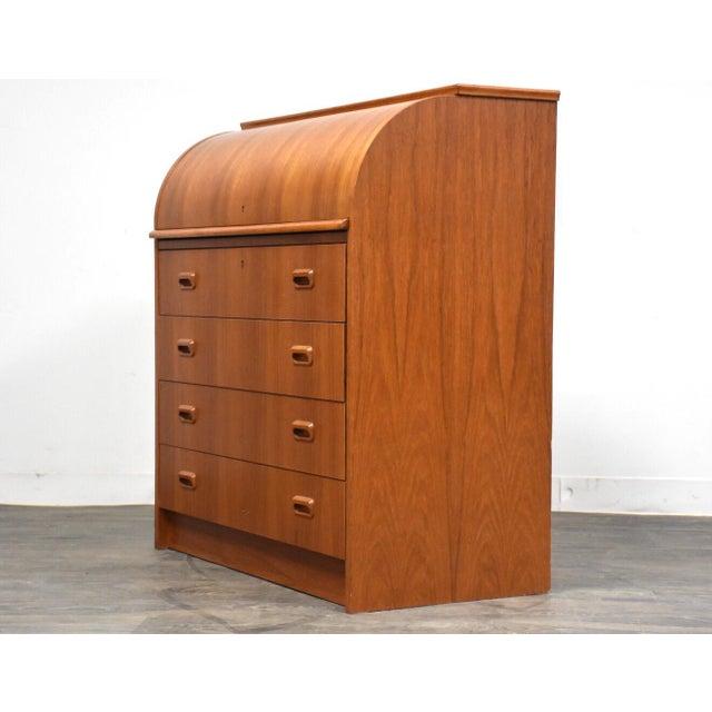Modern Teak Drum Roll Secretary Desk For Sale In Boston - Image 6 of 13