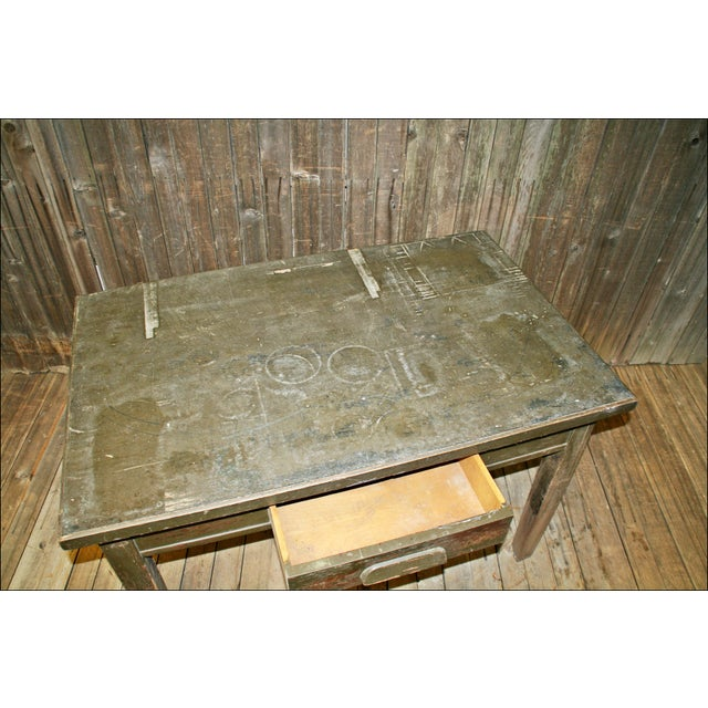 Vintage Industrial Wood Library Table - Image 10 of 11