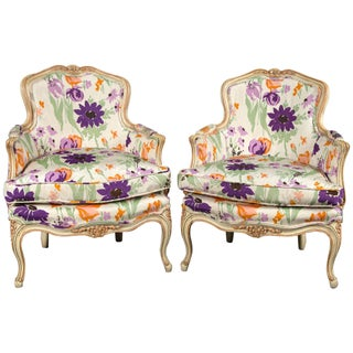 1970s Vintage French Bergere With Woodson Style Fabric- a Pair Preview