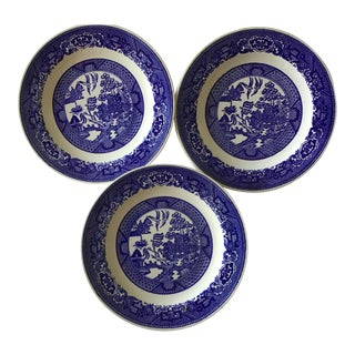 Willow Ware Blue & White Plates - Set of 3 For Sale