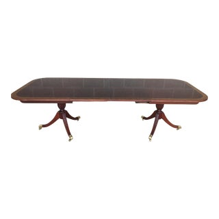 """Councill Craftsman Banded Mahogany Dual Pedestal 108"""" Dinning Table For Sale"""
