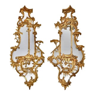 Pair of 18th Century Girandole Mirrors Attributed to Thomas Johnson For Sale