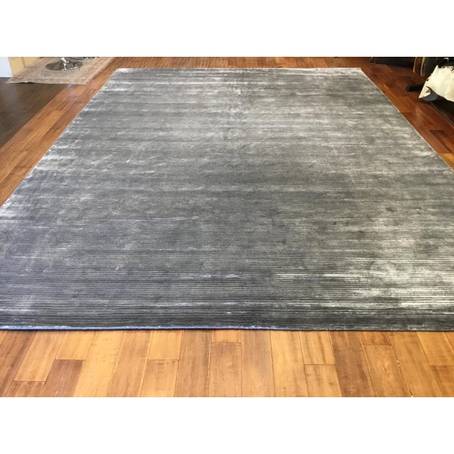 Contemporary Striped Gray Rug (12x15) For Sale - Image 4 of 6