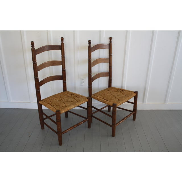Antique Rush Seat Chairs - A Pair - Image 5 of 11