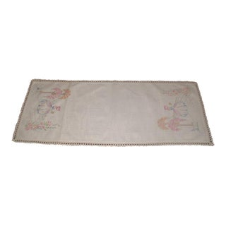 Embroidery Furniture Scarf, 1940s-1950s For Sale