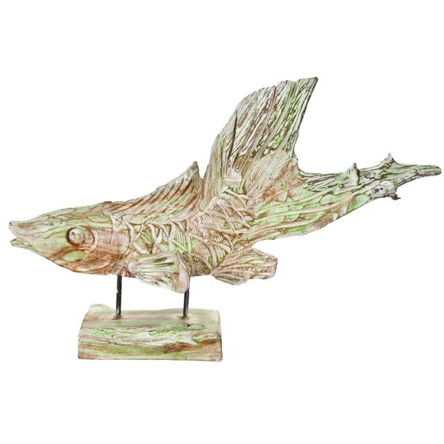 Hand-Carved Driftwood Fish On Stand - Image 1 of 5