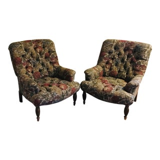Custom Floral Tufted Slipper Chairs - a Pair For Sale