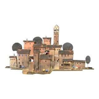 C. Jere Signed Italian Village Metal Wall Sculpture For Sale